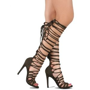Lace up knee sandals